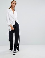 Pull&Bear Slit Wide Leg Pant With Side Stripe