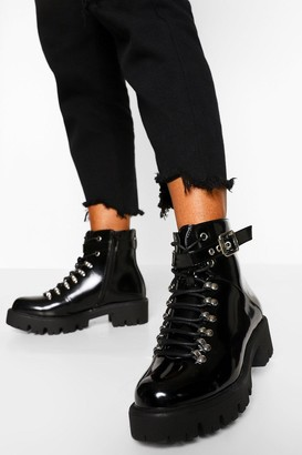 boohoo Lace Up Cleated Hiker Boots