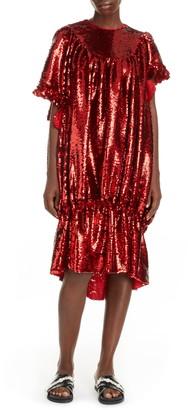 Simone Rocha Sequin Asymmetrical Bubble Dress