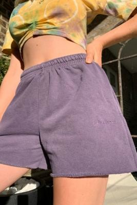 Iets Frans... iets frans. Purple Cut-Off Jogger Shorts - Purple XS at Urban Outfitters