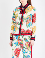 Gucci Ribbon-detail floral-print silk shirt