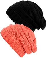 NYFASHION101 Oversized Baggy Slouchy Thick Winter Beanie Hat - 2 Pack, Burgundy/Natural Gray
