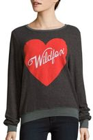 Wildfox Couture Heart Printed Long Sleeve Pullover