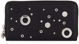 Alexander McQueen Grommet Leather Chain Wallet, Black