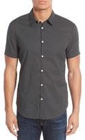 John Varvatos Men's Trim Fit Dot Print Short Sleeve Sport Shirt