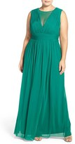 Marina Plus Size Women's Illusion Neck A-Line Gown