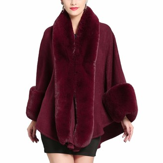 LIULIFE Women's Cape Poncho Autumn Winter Loose Faux Fox Fur Collar Shawl Cloak Cardigan Coat