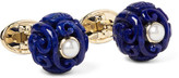 Trianon - Canton 18-karat Gold, Lapis And Pearl Cufflinks - Royal blue