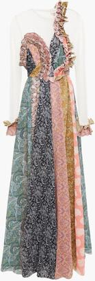 Zimmermann Mesh-paneled Ruffled Printed Plisse-organza Maxi Dress