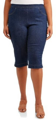 Just My Size Women's Plus Size 2 pocket Pull on Capri Pant