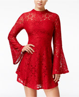 Material Girl Juniors' Lace Bell-Sleeve Shift Dress, Only at Macy's