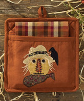 Rust & Tan Scarecrow Pocket Potholder & Dish Towel Set