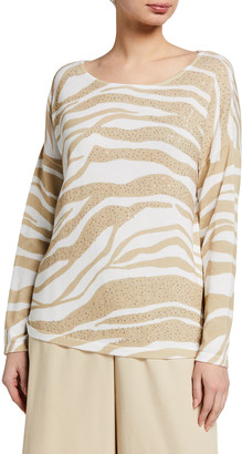 Joan Vass Petite Allover Animal Printed Sweater with Sequins