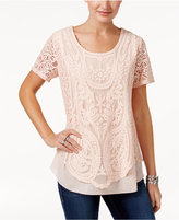 Style&Co. Style & Co Lace Crochet Top, Only at Macy's