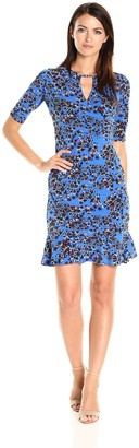 Taylor Dresses Women's Tossed Jersey Floral Dress with Keyhole at Neckline