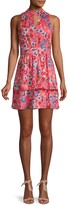 Parker Floral Keyhole Mini Flare Dress