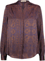 L'Agence Bianca printed silk-satin blouse