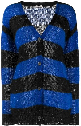 Miu Miu Sequins Embellishment Striped Cardigan