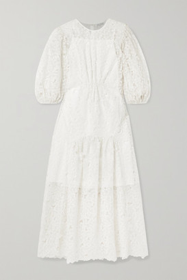 Cecilie Bahnsen - Tora Tiered Embroidered Silk-blend Organza Maxi Dress - White