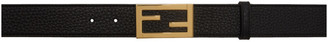 Fendi Black and Gold Leather Belt