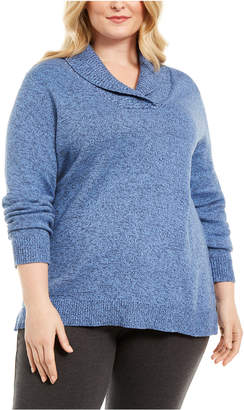 Karen Scott Plus Size Marled Cotton Shawl-Collar Sweater