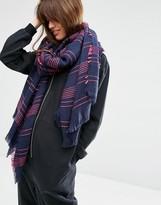 Asos Oversized Lightweight Scarf In Textured Pinstripe