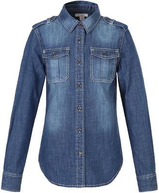 Richie House Girls' Button Down Shirts Blue - Medium Blue Denim Button-Up - Toddler & Girls