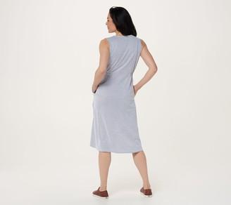 Denim & Co. Petite Seersucker V-Neck Midi Dress