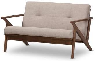 Baxton Studio Bianca Mid-Century Modern Dark Brown Distressed Faux Leather 2-Seater
