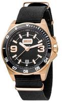 Just Cavalli Mens Black Nylon Strap Watch With Black Dial.