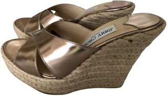 Jimmy Choo Gold Leather Espadrilles