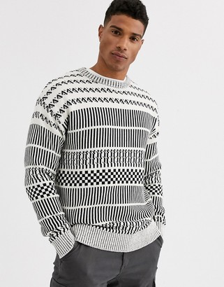 Jack and Jones Originals patterned crew neck jumper in navy