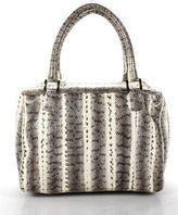 Beirn Ivory Grey Snake Print Zipper Closure Satchel Handbag