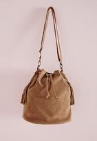 Missguided 70's Tassle Suedette Duffle Bag