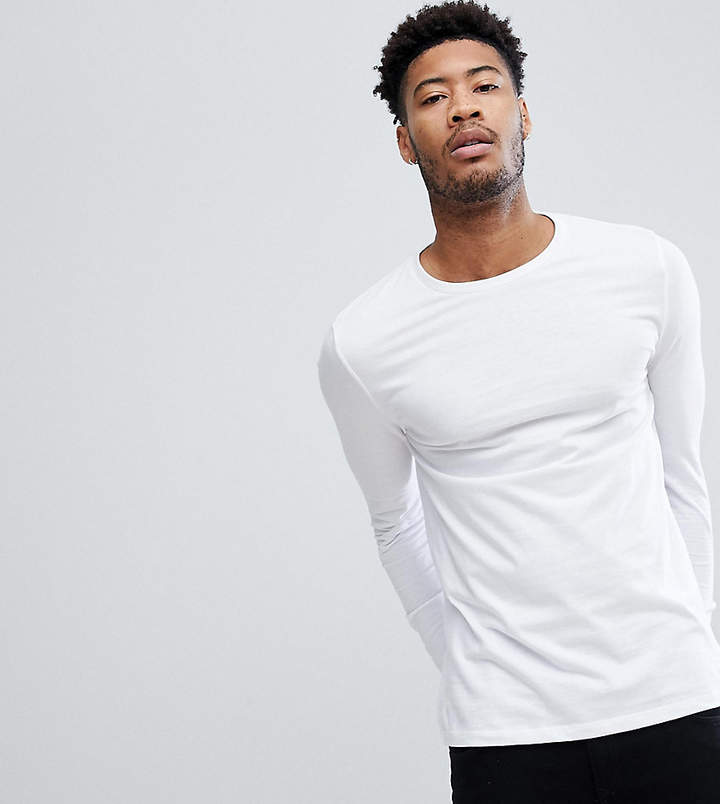 Asos Design DESIGN Tall long sleeve t-shirt with crew neck in white