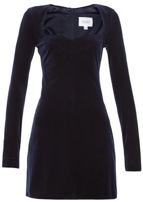 Galvan Nightfall Velvet Mini Dress - Navy