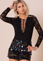 Missy Empire Effy Black Lace Up Lace Bodysuit