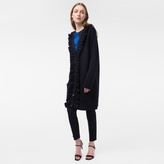Paul Smith Women's Navy Long Wool Cardigan With Frill Placket