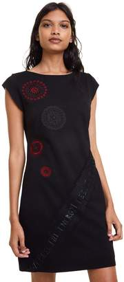 Desigual Briana Short Fitted Dress with Graphic Print and Short Sleeves
