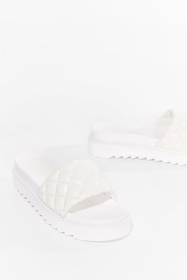 Nasty Gal Womens Quilt Wastin' Time Faux Leather Platform Sandals - White