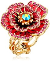 "Betsey Johnson Garden of Excess"" Rose Ring, Size 7"