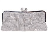 Santimon Women Clutch Luxury Kiss Lock Purses Bling Soft Crystal Evening Clutch Bags with Removable Strap