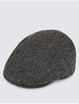 Blue Harbour Pure Wool Herringbone Thinsulatetm Flat Cap With Stormweartm