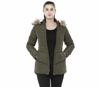 Studio99 Women Puffer Jacket - Quilted Padded Insulated Water Resistant Coat Mid Thigh Length