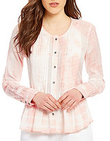 William Rast Fairah Long Sleeve Pin Tucked Tie-Dye Blouse