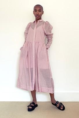 Topshop Womens Pink Check Organza Shirt Midi Dress - Pink