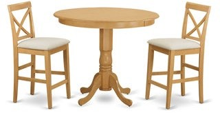 East West Furniture Natural/Beige Solid Wood 3-piece Counter Height Pub Dining Set