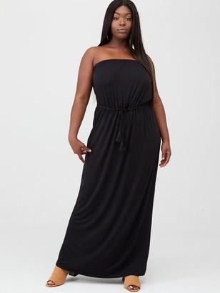 V By Very Curve Bandeau Jersey Maxi Dress - Black