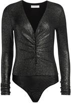 Scripted Metallic Long-Sleeve Bodysuit