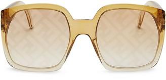 Fendi FF-printed square sunglasses
